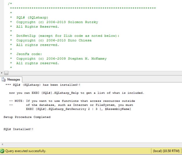 Install-SQLSharp-Succes
